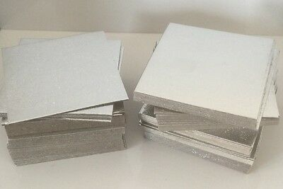 "100 X 4"" INCH SQUARE Thin Cut Edge Cake Boards Cards Sugarcraft Culpitt SILVER"