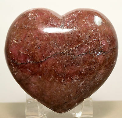 "2.75"" Rhodonite Puffy Heart Rich Pink Natural Polished Crystal Love Stone China"