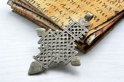 Large Cross silver Pendant Ethiopian Ancient Medieval Style