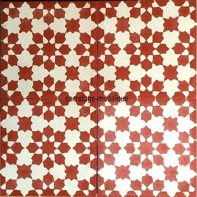 carreaux de ciment 1m2 modele prisma-rouge