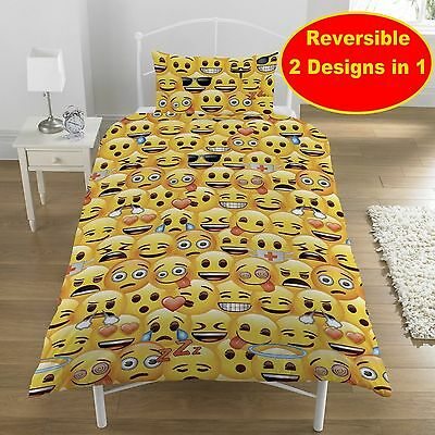 Emoji Single Duvet Quilt Cover Bedding Set Boys Girls Kids Emoticon Smiley Bed