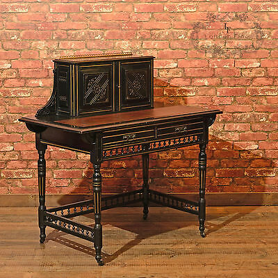 Antique Ebonised Writing Desk, Victorian Bonheur du Jour, Trapnell & Gane c.1880