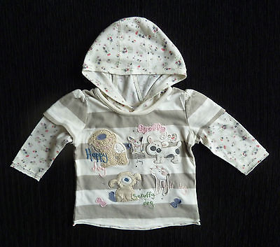 Baby clothes GIRL 3-6m texture dogs hood lightweight long sleeve top beige/white