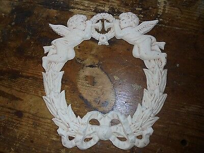 Chippy antique reproduction iron roses decorative wreath chic decor cherubs bow
