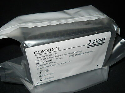 (5) Corning BioCoat Collagen I 96-Well Black/Clear TC Plates & Lids, 356649