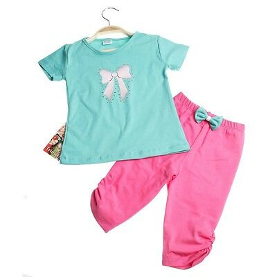 Girls Cotton T-Shirt and Leggings set - Bow age 1 years up to 4 years