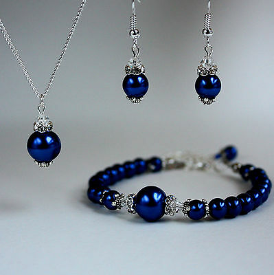 Midnight blue vintage pearl necklace bracelet earrings wedding bridal silver set