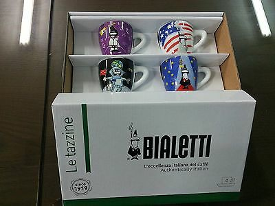 Bialetti Espresso Cup and Saucer Set of 4 Event Porcelain