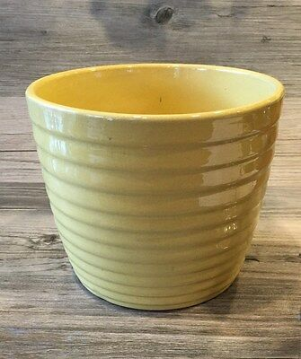 Antique Monmouth Pottery Il Yellow Ring Bowl Planter Pot ~Old Stamp Rare!