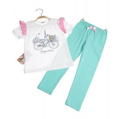 Girls Summer cotton Short Sleeve T-Shirt and Leggings set - Bonjour Age 5-8 year