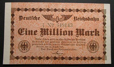 Germany - 1 Million Mark Railway Note EF+ (1923)