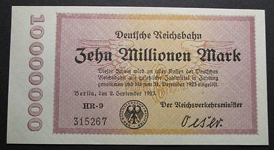 German 10 Million Mark Railway Note aUNC (1923)