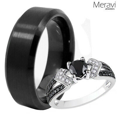 His & Her Pave 925 Sterling Silver Womens Wedding Ring Mens Black Tungsten Band