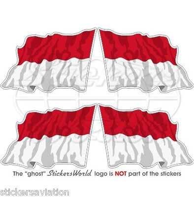 """INDONESIA Flying Flag Indonesian Republic 50mm (2"""") Vinyl Stickers, Decals x4"""