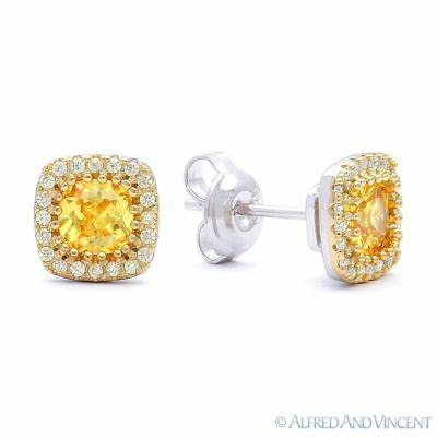 Yellow & White CZ Crystal Micro Pave Stud Earrings in 14k GP 925 Sterling Silver