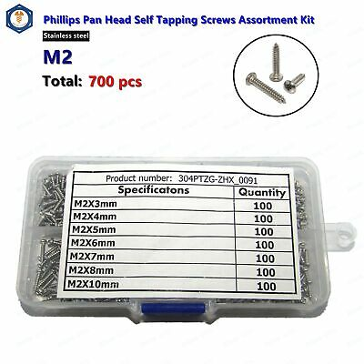 M2 Stainless Steel Phillips Pan Head Self Tapping Screws Assortment Kit 700 pcs