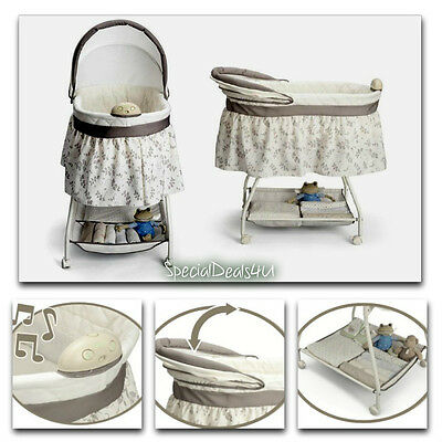 Baby Nursery Crib Furniture Musical Bassinet Bed Newborn Bedding Infant Cradle