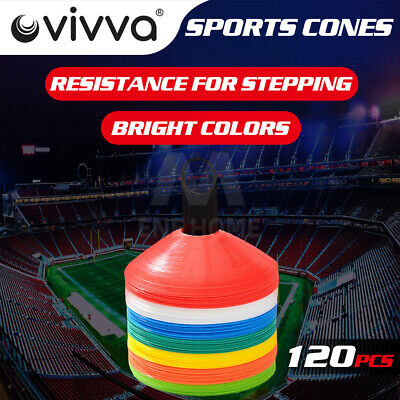 New 120 Sports Training Discs Markers Cones Soccer Afl Exercise Personal Fitness
