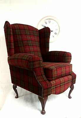 Wing Back/Queen Anne/Cottage Red Lana Tartan Chair. FREE DELIVERY TO MAIN UK.
