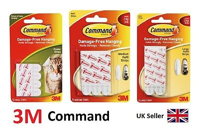 3M Command Strips Large Medium Small Best For Damage Free Picture Poster Hanging