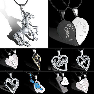 Unisex Women Men's Horse Stainless Steel Pendant Necklace Leather Heart Jewelry