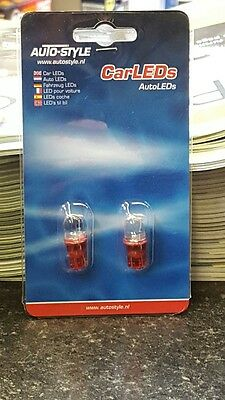 Autostyle 501/T10/W5W 12v Red LED Bulbs (Pack of 2)