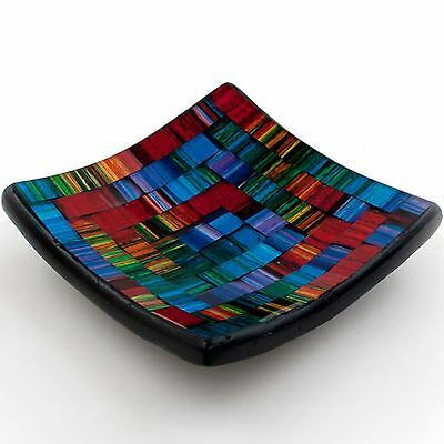 Mosaic Spectrum Candle Plate Rainbow Key Coin Soap Dish 11cm 4 inch