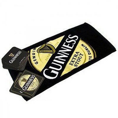 Guinness Label Bar Towel + 10  Coasters Gift Set NEW MAN CAVE
