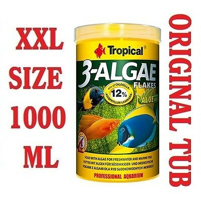 3 ALGAE FLAKE Food for Tropical Fish Malawi Cichlids Tanganyika 1000ml/200g