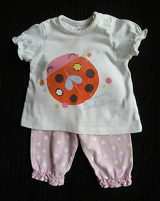 Baby clothes GIRL newborn 0-1m outfit ladybird short sleeve top/pink trousers