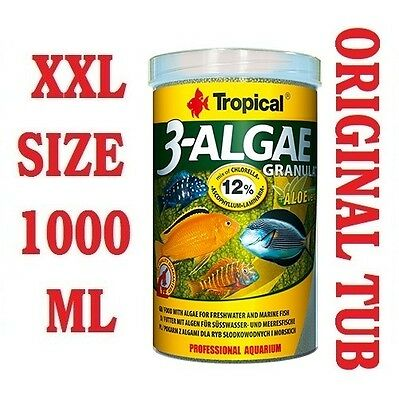 3 ALGAE GRAN  Food for Tropical Fish Malawi Cichlids Tanganyika 1000ml/380g