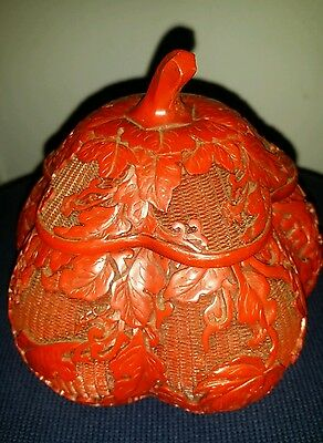 Antique Chinese Red Cinnabar Lacquer Hand Caved Ware Melon Box 5x5inch""