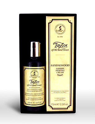 Taylor of Old Bond Street Sandalwood Hair & Body Wash 100ml & Shaving Cream 75ml