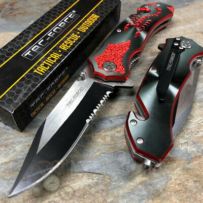 Tac-Force Half Serrated Blade Red Scorpion Tactical Spring Assisted Pocket Knife