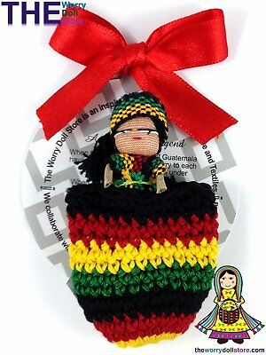 New Rasta Worry Doll Girl in Knit Pouch