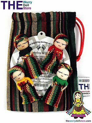 New Handwoven Pouch with 4 Rasta Worry Dolls