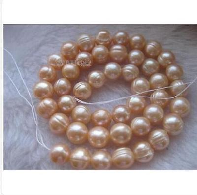 Natural AAA+ 11-13MM South Sea Pink Pearl Necklace 18 Inch 14kt