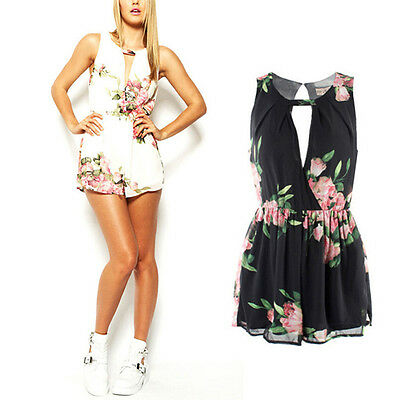 Women Summer Chiffon Floral Playsuit Bodycon Party Jumpsuit Romper Trousers Hot