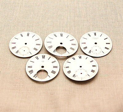5x Zifferblatt Uhr Spindel Taschenuhr porcelain fusee pocket watch dial clock