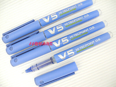 6 x Pilot V5 0.5mm Hi-Tecpoint Cartridge System Refillable Rollerball Pens, Blue