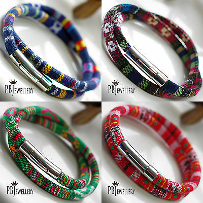 6mm Double Wrap Tribal Ethnic Bracelet Wristband Stainless Steel Clasp