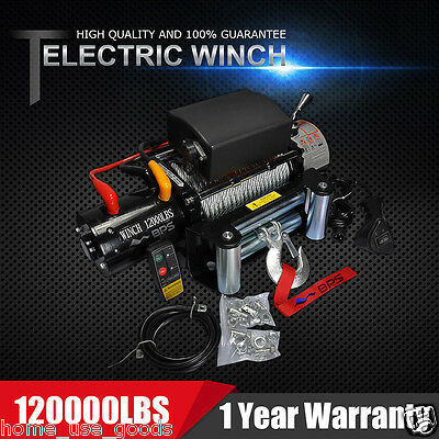 12V 12000lb Electric Recovery Winch With Wireless Remote Control ATV Heavy Duty