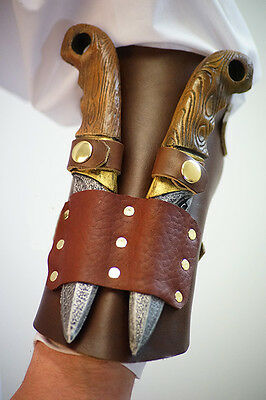 Re enactment-LARP-SCA-Cos-Play-BROWN LEATHER LARP HUNTER VANBRACE/ARM GUARD