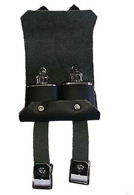 Re enactment-LARP-SCA-Cosplay- BLACK OR BROWN LEATHER DOUBLE TIPPLE POUCH