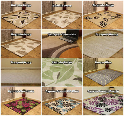 Modern 100% Pure Indian Wool Rugs Floral Designer Thick Woolen Clearance Carpets