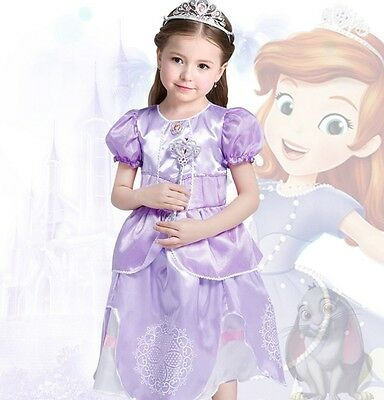 Sofia The First Disney Princess Girls Fancy Dresses Kids Costume Party Dress