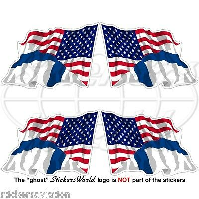 USA United States America-FINLAND American-Finnish Flying Flag 50mm Stickers x4