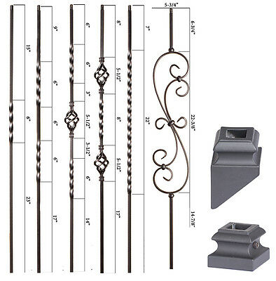 Satin Black - Twist & Basket Iron Balusters - SOLID Wrought Iron - Stair Parts