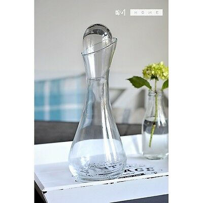 Handmade Mouth Blown Clear Glass Carafe Decanter Wine Brandy Liquor Whiskey 1L