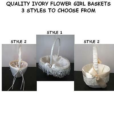 Flower Girl Basket Wedding Ceremony IVORY - 3 Styles to choose from